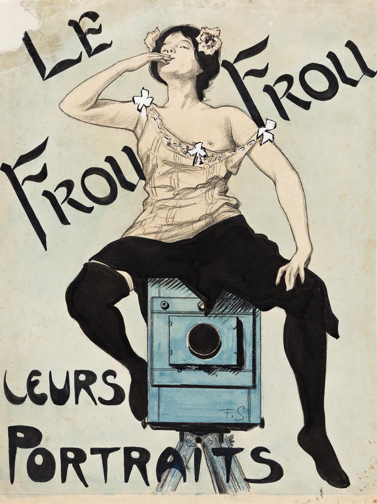 FERDINAND LOUIS GOTTLOB (1873-1935).  LE FROU FROU / LEURS PORTRAITS. Gouache maquette. 16x12 inches, 42x31 cm.