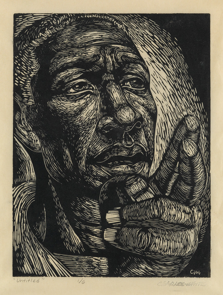 CHARLES WHITE (1918 - 1979) Untitled (Man With Pointing Finger).