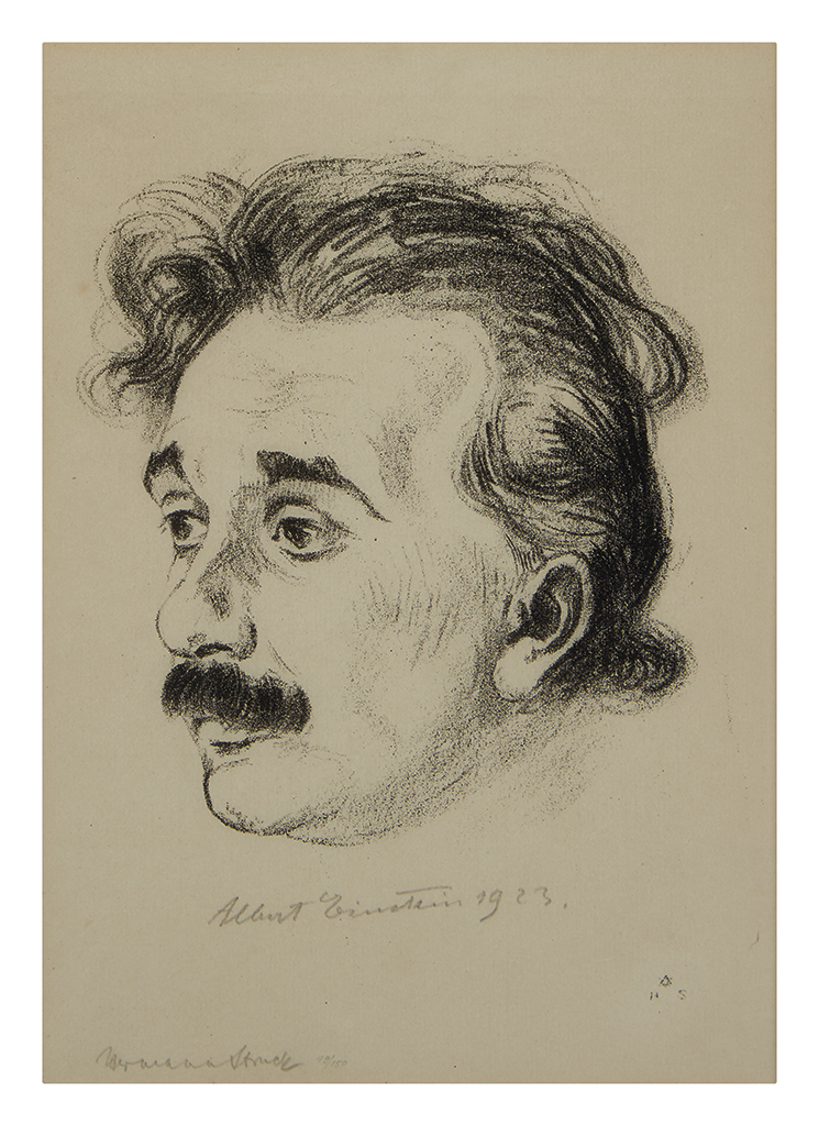 (SCIENTISTS.) EINSTEIN, ALBERT. Lithographic portrait on Japan paper by Hermann Struck, Signed and dated at lower center, in pencil, sh