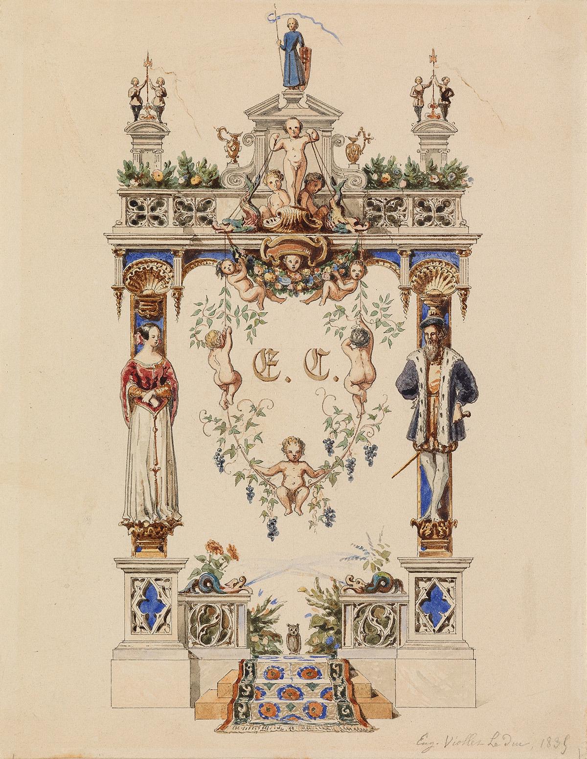 EUGÈNE-VIOLLET-LE-DUC-(Paris-1814-1879-Lausanne)-A-Study-for
