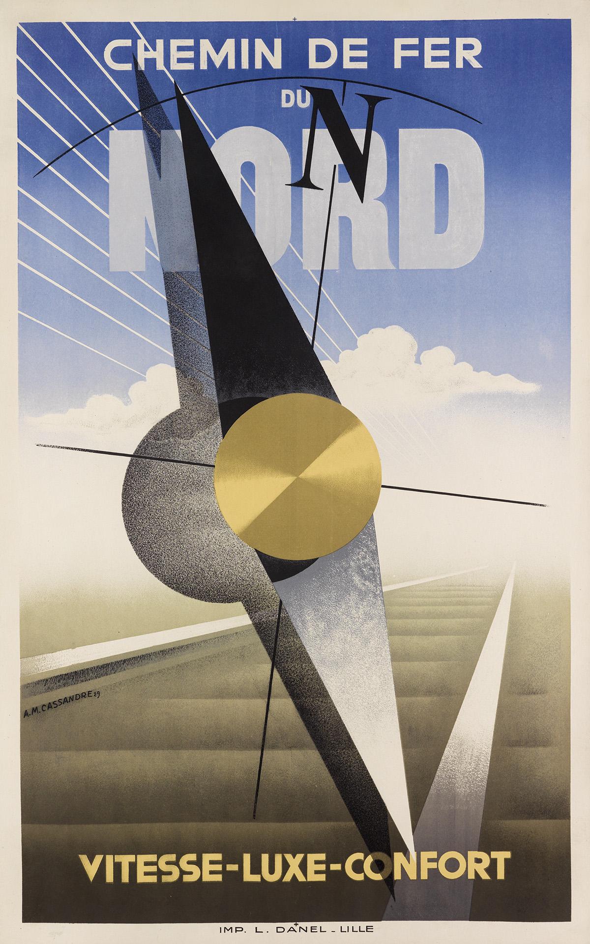 ADOLPHE MOURON CASSANDRE (1901-1968). CHEMIN DE FER DU NORD. 1929. 39x24 inches, 99x63 cm. L. Danel, Lille.
