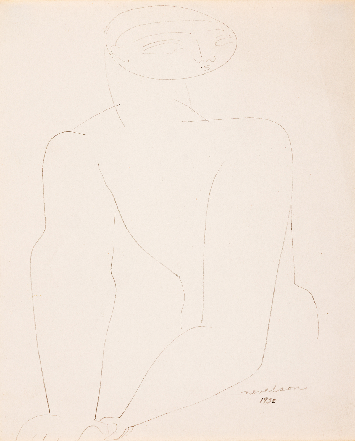 LOUISE NEVELSON (1899-1988) Male Nude.