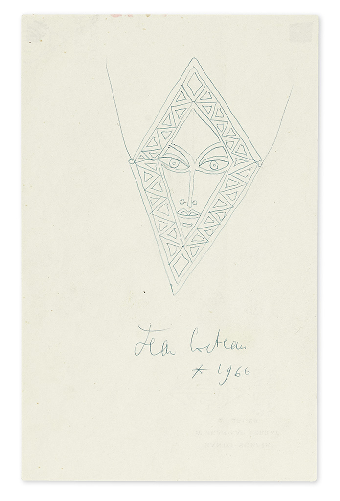 COCTEAU, JEAN. Group of 5 items relating to jewelry designs to be executed by goldsmith Francois Hugo: