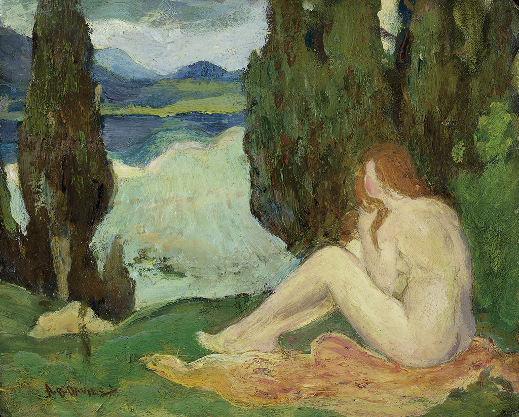 ARTHUR-B-DAVIES-Landscape-with-a-Seated-Female-Nude