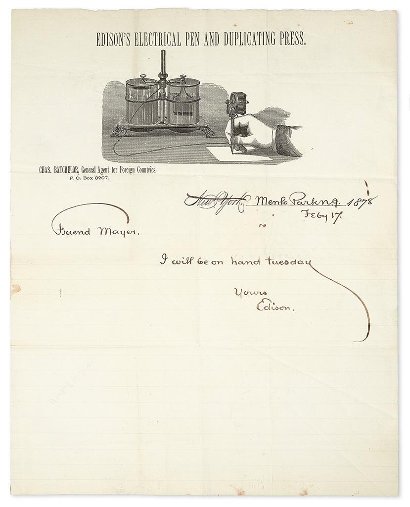 EDISON, THOMAS A. Brief Autograph Letter Signed, Edison, to Friend Mayer [Alfred M. Mayer?]: