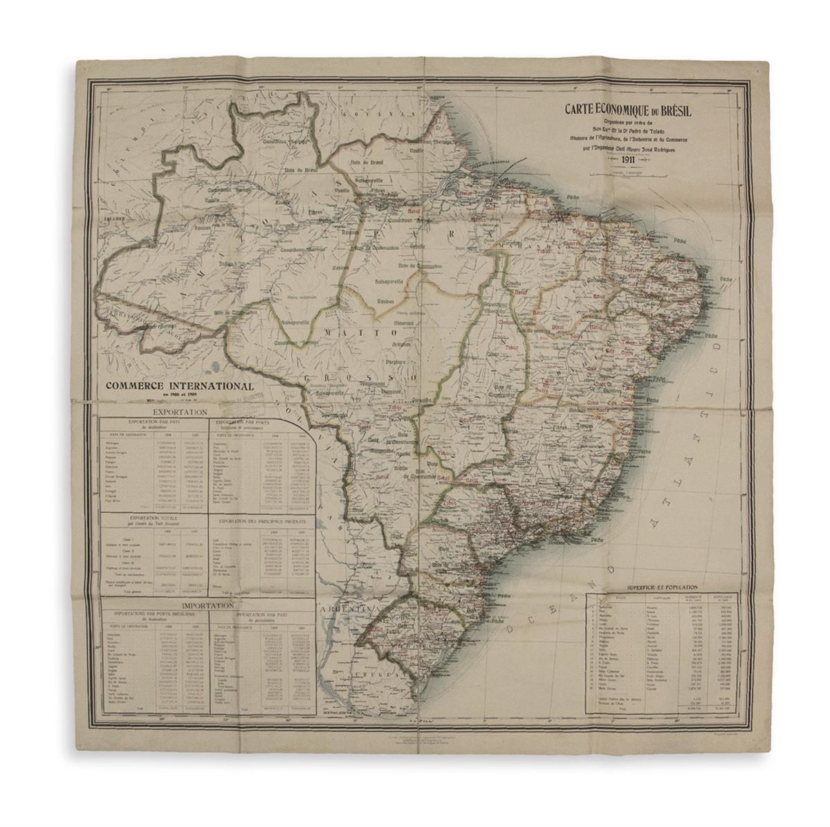 (BRAZIL.) Rodrigues, Alvaro Jose, civil engineer. Carte Economique du Bresil Organisee par Ordre de... Ministre de lAgriculture.