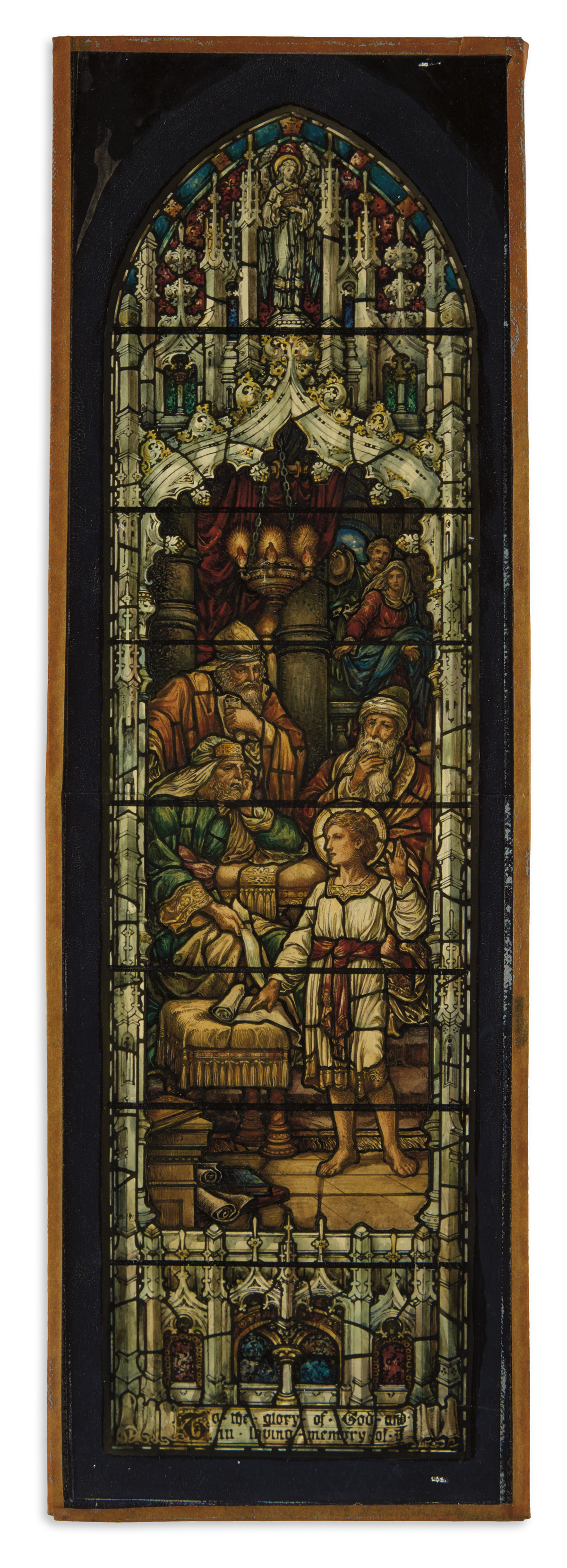 (STAINED GLASS.) F.G. Wiedemann Stained Glass Studio. Model for a stained-glass church window.