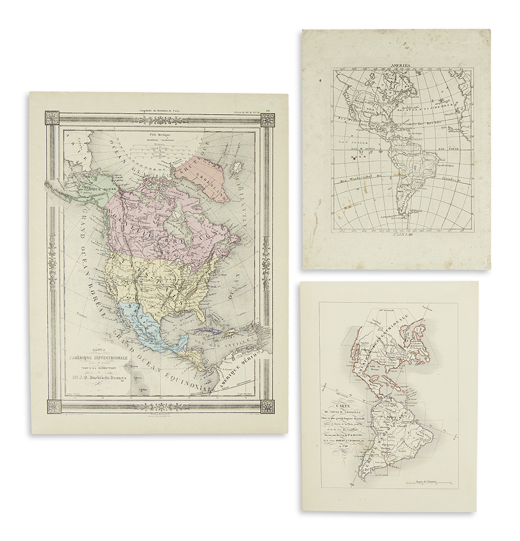 (AMERICAS)-Group-of-three-small-format-engraved-maps-of-the-