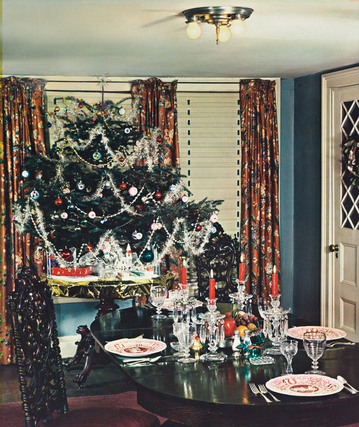 PAUL OUTERBRIDGE JR. (1896-1958) Christmas Tree in the Dining Room.