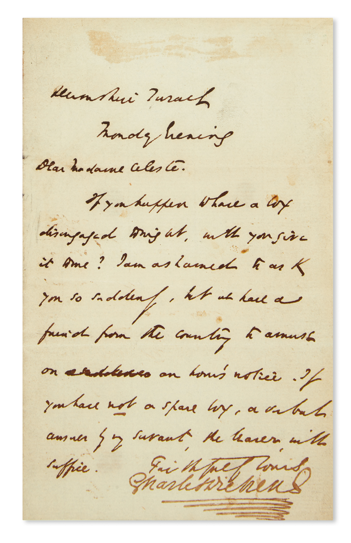 DICKENS-CHARLES-Autograph-Letter-Signed-to-actress-and-theater-manager-Céline-Céleste-Elliott-(Dear-Madame-Celeste)