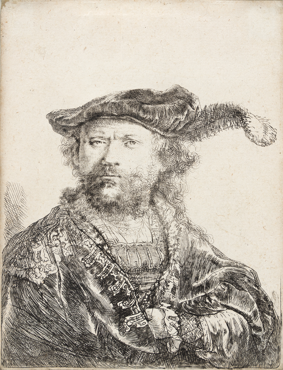 REMBRANDT VAN RIJN Self Portrait in a Velvet Cap and Plume.