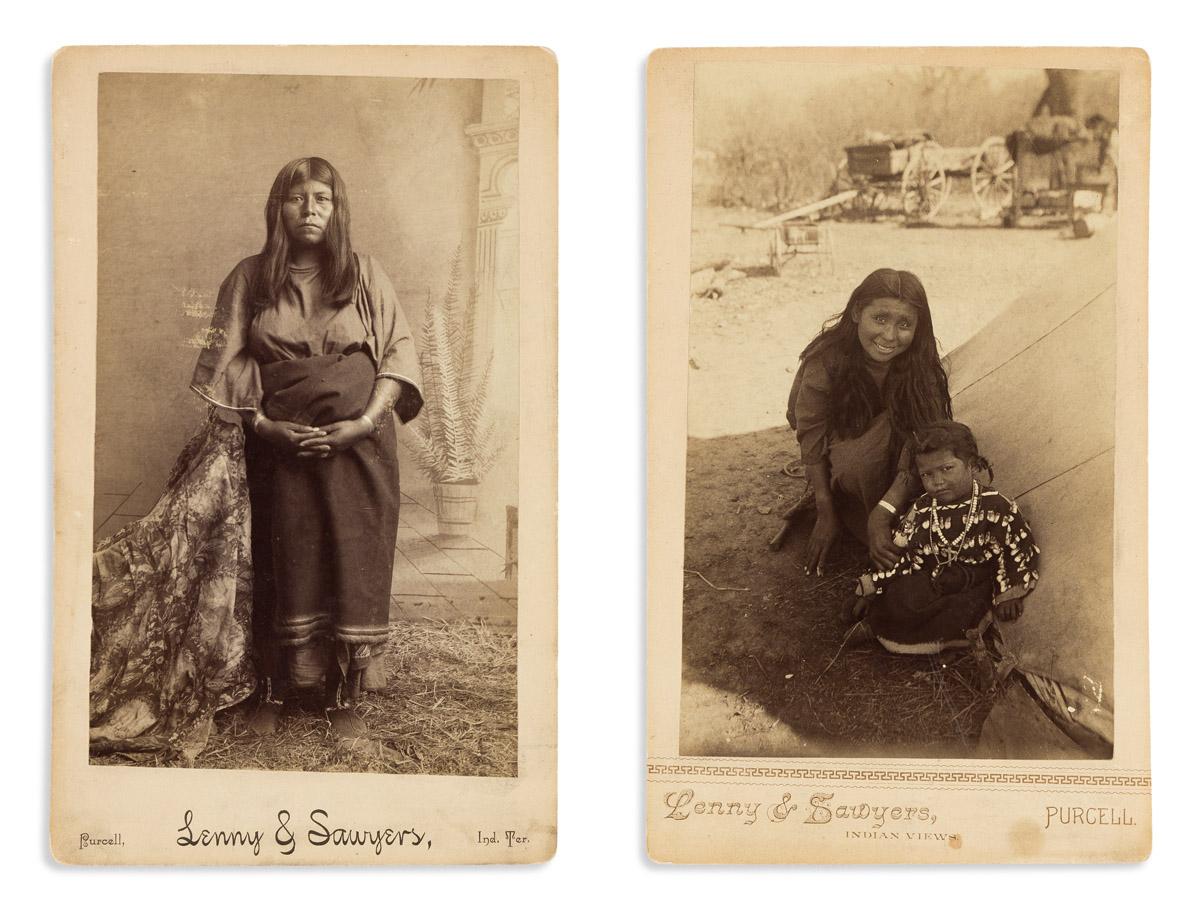 (AMERICAN INDIANS--PHOTOGRAPHS.) Lenny & Sawyers, photographers Pair of boudoir cards of Kiowa women.