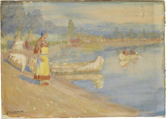 EDWIN-WILLARD-DEMING-River-Scene-with-Native-Americans-and-C