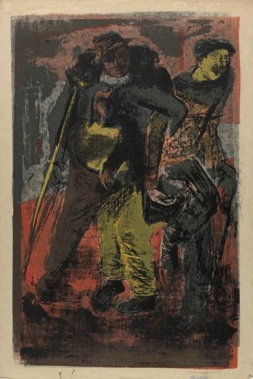 CALVIN BURNETT (1921 - 2007) Three Crippled Drunks.
