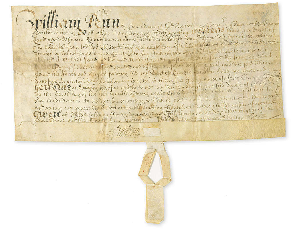 PENN, WILLIAM. Vellum Document Signed, WmPenn,