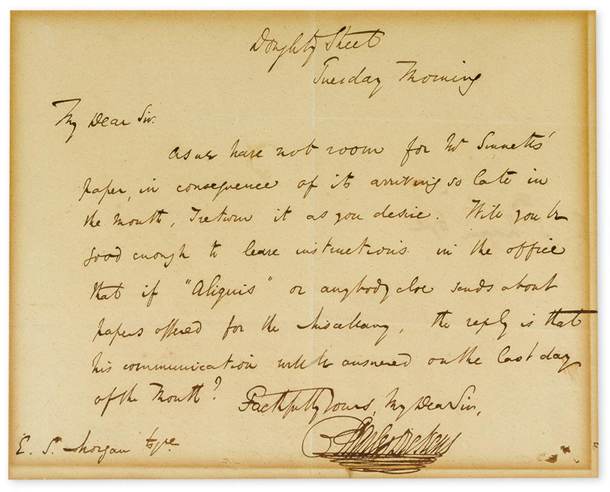 DICKENS, CHARLES. Autograph Letter Signed, to E.S. Morgan (My Dear Sir),