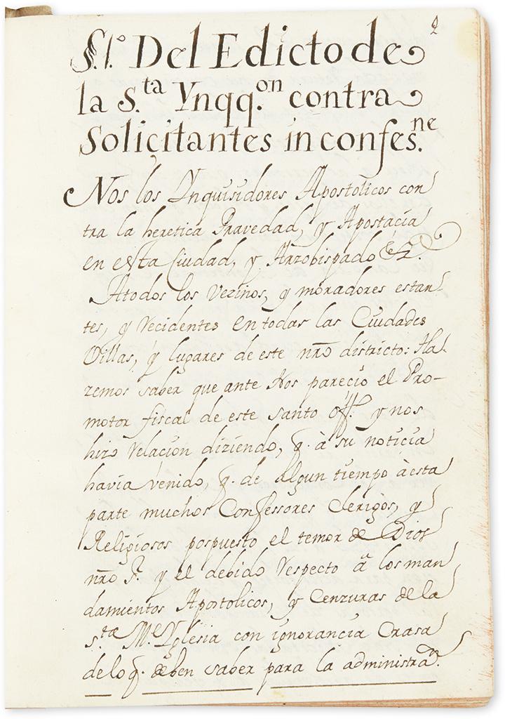 (MEXICO.) Volume of Inquisition edicts regarding confessions.