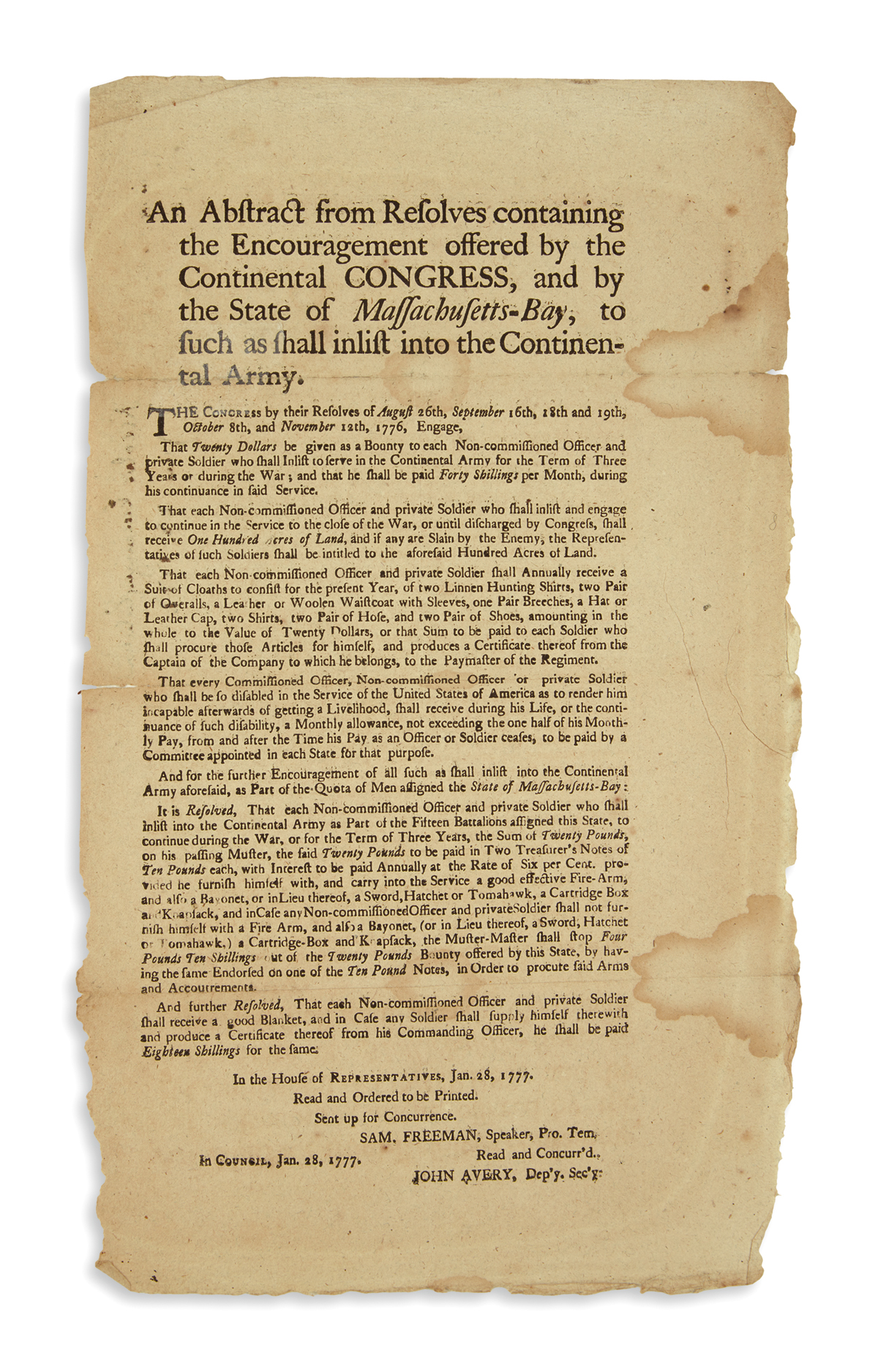 (AMERICAN REVOLUTION--1777.) An Abstract from Resolves Containing the Encouragement Offered by the Continental Congress,