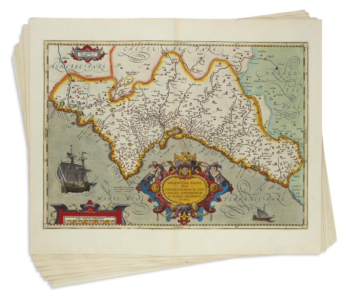 ORTELIUS-ABRAHAM-Group-of-10-double-page-engraved-regional-m