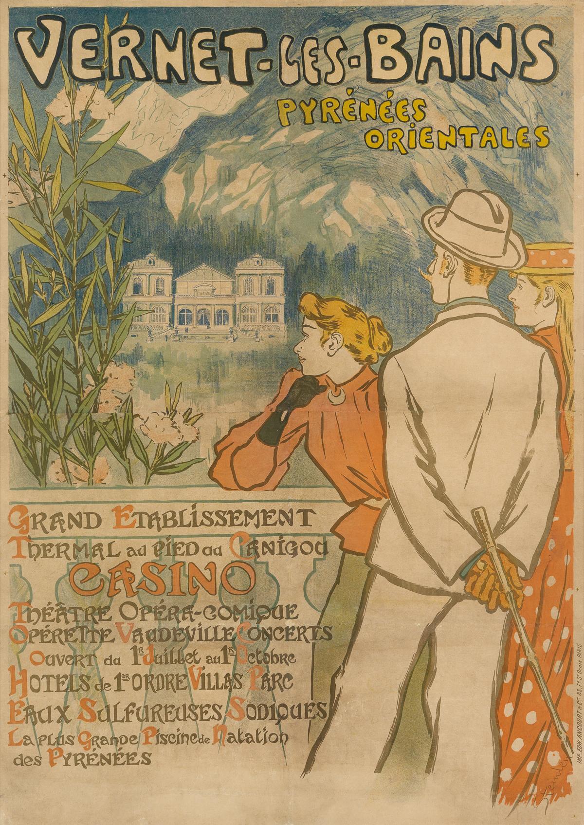 THÉOPHILE-ALEXANDRE STEINLEN (1859-1923). VERNET - LES - BAINS / PYRÉNÉES ORIENTALES. 1896. 53x37 inches, 136x96 cm. Edw. Ancourt, Pari