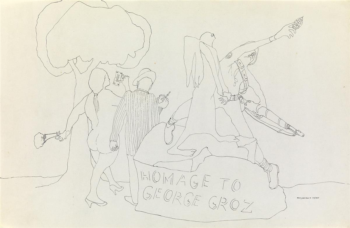 BENNY ANDREWS (1930 - 2006) Homage to George Grosz.