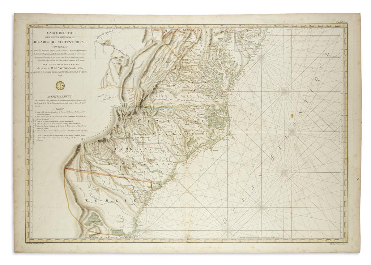 SARTINE, ANTOINE de. Carte Reduite des Cotes Orientales de lAmerique Septentrionale