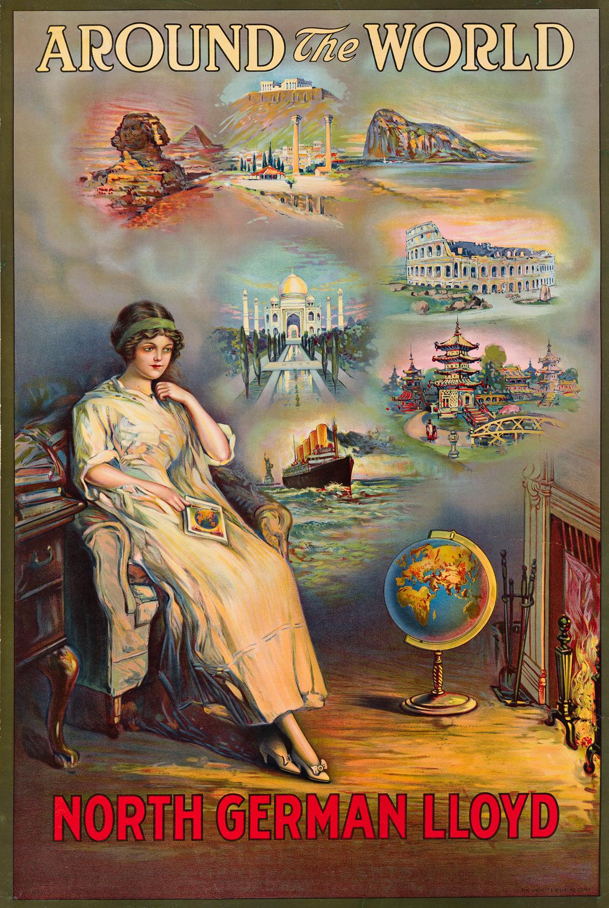 Designer Unknown.   AROUND THE WORLD / NORTH GERMAN LLOYD.  Circa 1910.