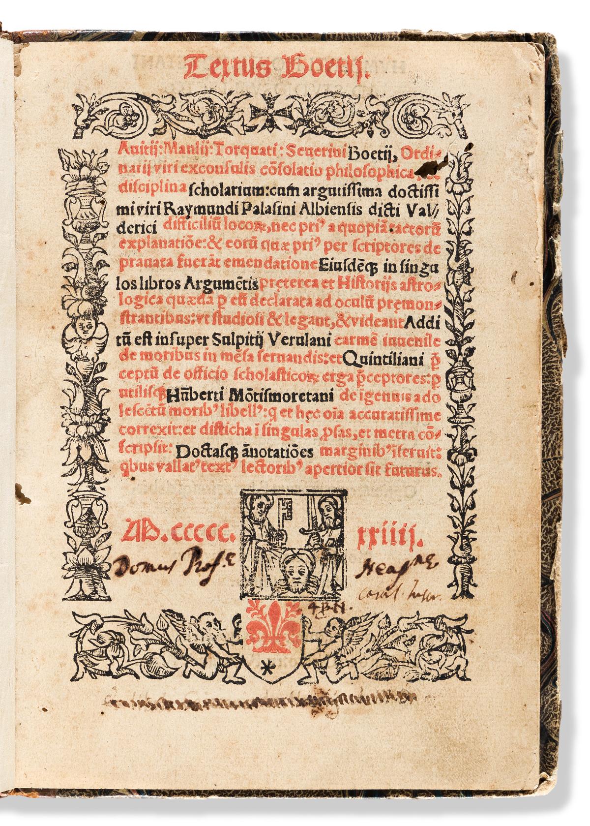 Boethius (c. 477-524 CE) Textus Boetii. [De Consolatione Philosophiae].