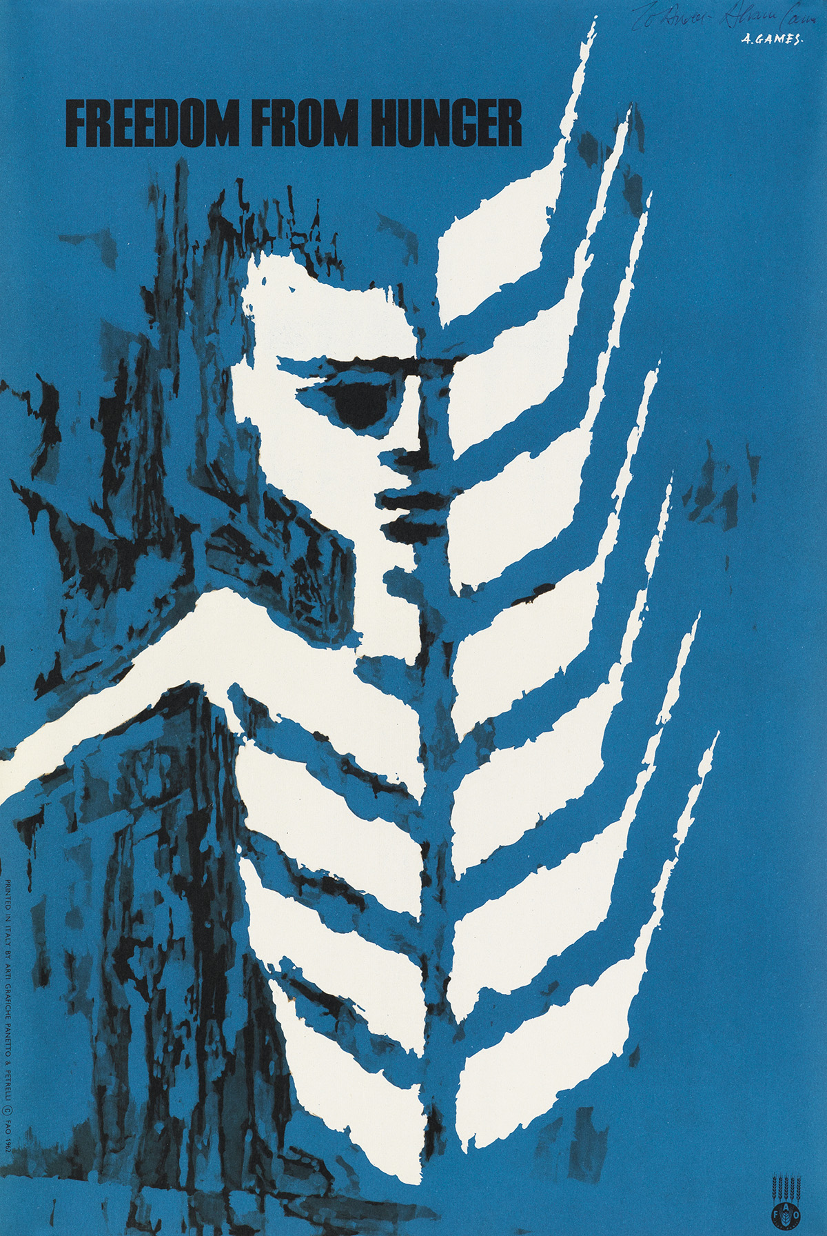 ABRAM-GAMES-(1914-1996)-FREEDOM-FROM-HUNGER-1960-19x12-inche