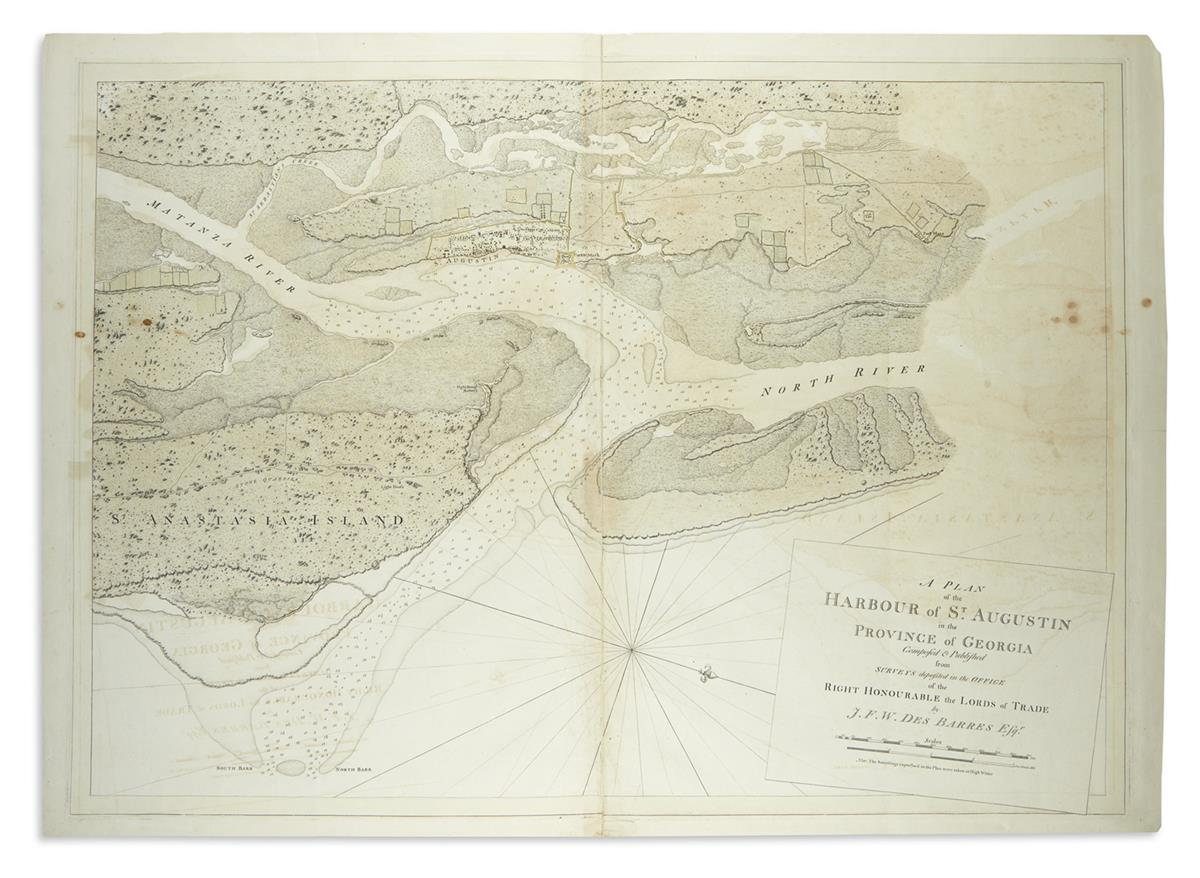 DES BARRES, JOSEPH FREDERICK WALLET. A Plan of the Harbour of St. Augustin in the Province of Georgia.