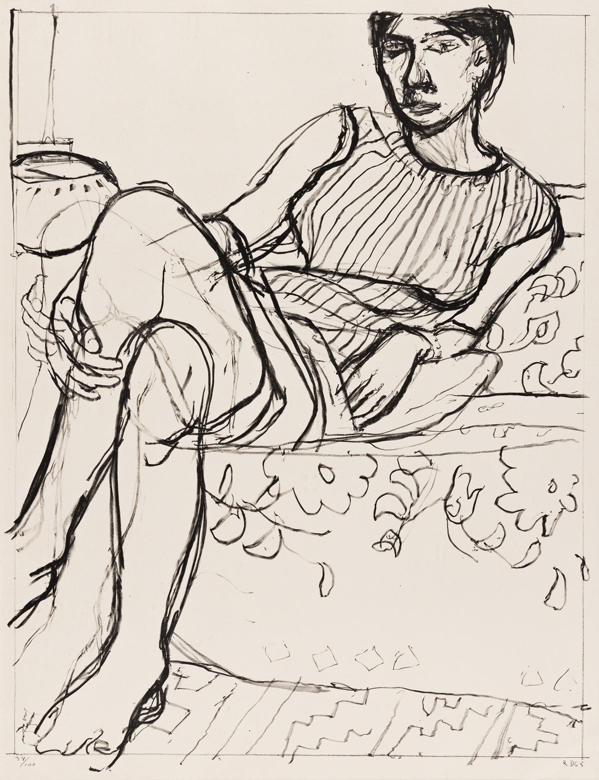 RICHARD DIEBENKORN Seated Woman in a Striped Dress.