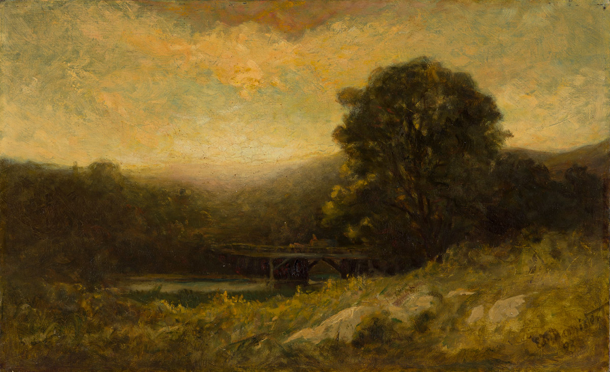 EDWARD M. BANNISTER (1828 - 1901) Crossing the Bridge before Sunset.