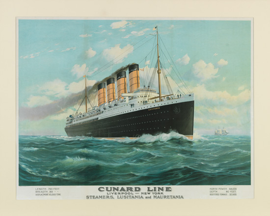 "(CUNARD LINE.) ""Lusitania"" and ""Mauretania"" (I). Cunard Line / Liverpool - New York / Steamers, Lusitania and Mauretania."