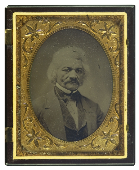 (SLAVERY AND ABOLITION--DOUGLASS, FREDERICK.) Quarter plate collodion wet plate ambrotype photograph of Frederick Douglass.