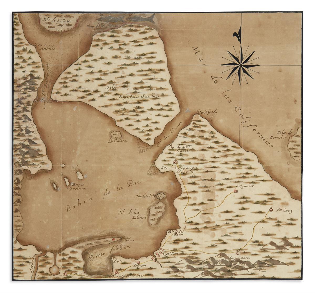 (MANUSCRIPT-MAP)-Plano-del-Puerto-de-la-Paz-de-su-Bahia-e-Is