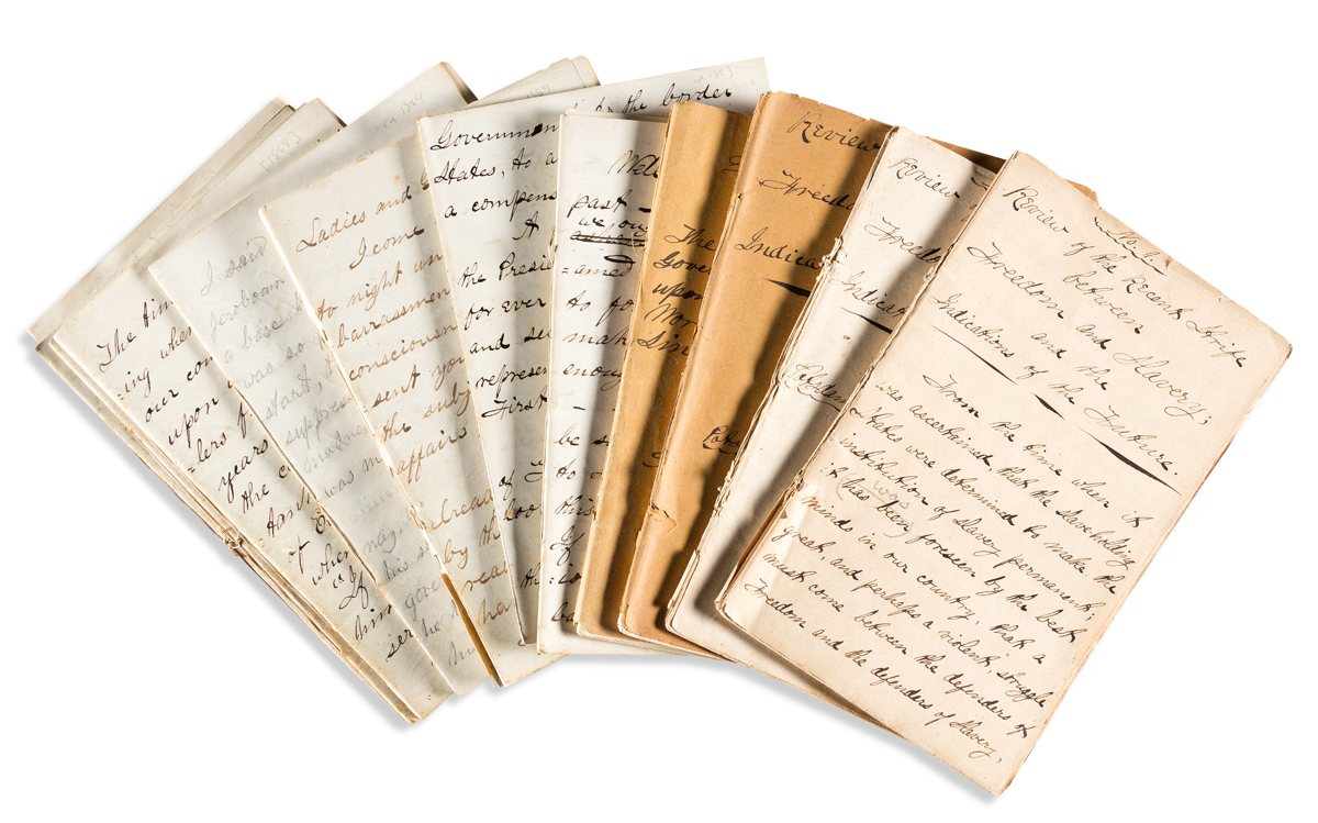 (SLAVERY AND ABOLITION.) U.M. Fisk. Series of manuscript lectures by an abolitionist firebrand before, during and after the war.