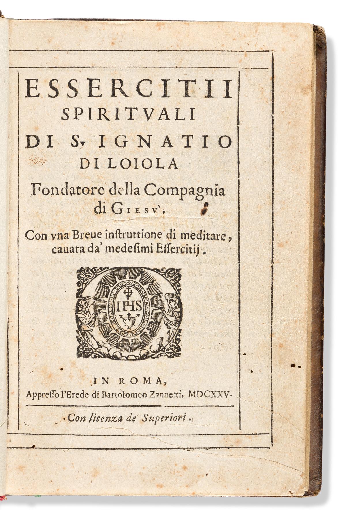 Loyola, Saint Ignatius of (1491-1556) Essercitii Spirituali.