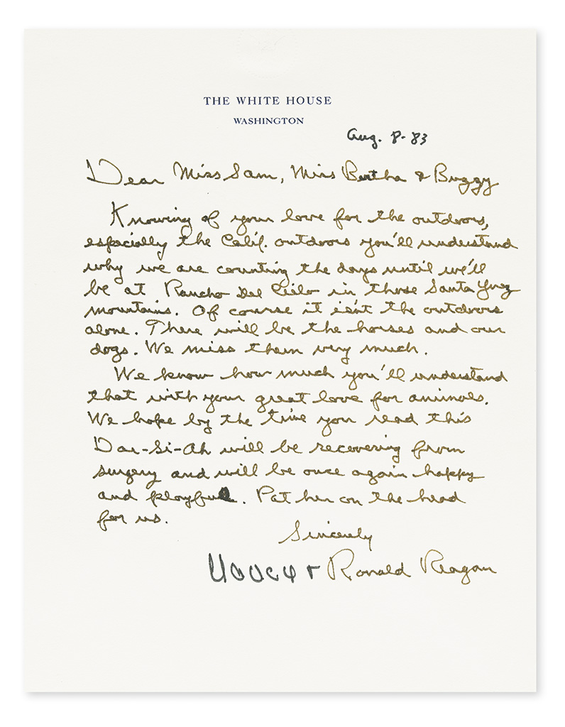 REAGAN, RONALD; AND NANCY. Autograph Letter Signed, by both (Nancy and Ronald Reagan), as President and First Lady, to Dear Miss S