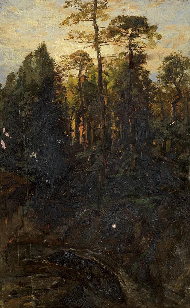 JAMES-D-SMILLIE-Mountainous-Landscape-with-a-Sunset