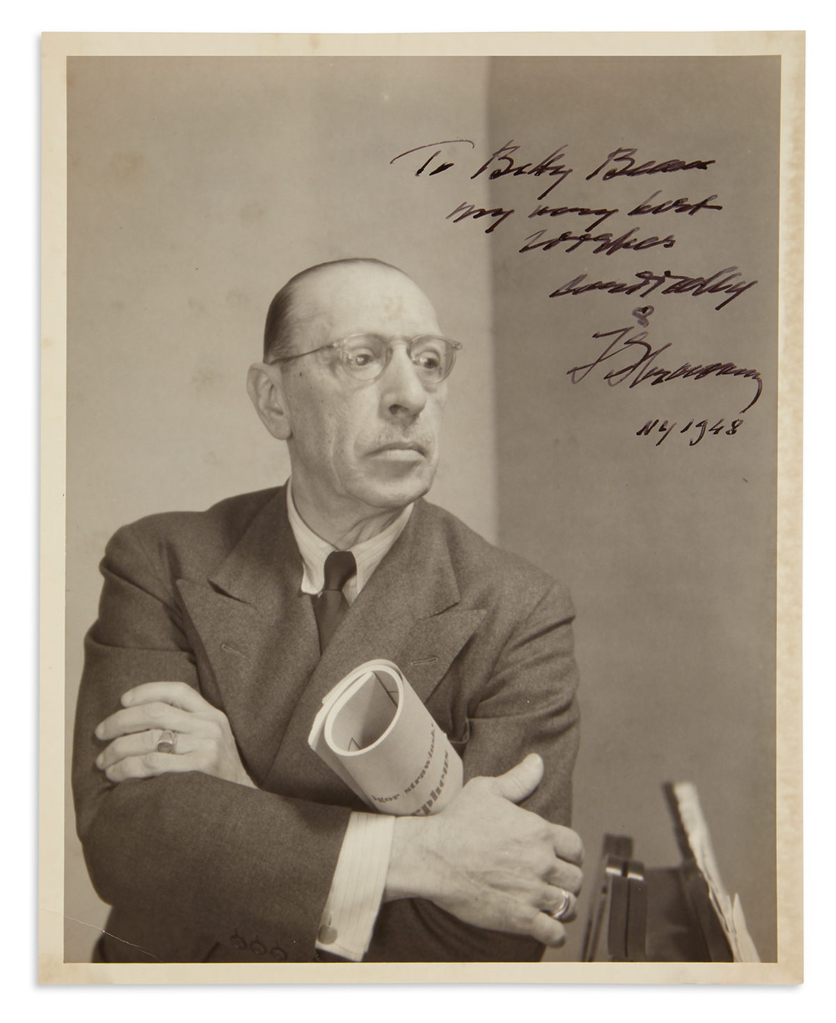 STRAVINSKY-IGOR-Photograph-Signed-and-Inscribed-To-Betty-Bean--my-very-best--wishes--cordially--IStravinsky