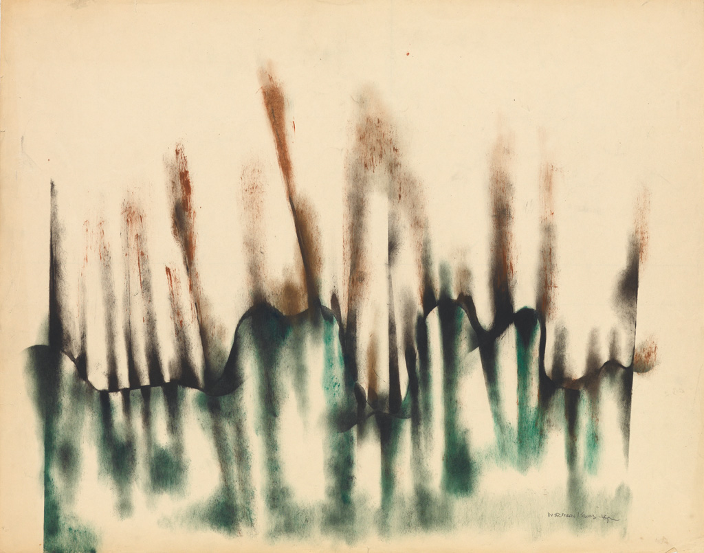 NORMAN LEWIS (1909 - 1979) Untitled (Green and Brown Abstraction).