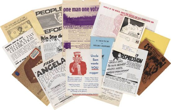 (CIVIL RIGHTS.) ANGELA DAVIS, PANTHERS, SNCC, SCLC, WATTS RIOTS, DICK GREGORY, ATTICA ET AL. A group of 30 broadsides, flyers, papers,