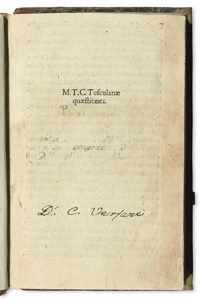 CICERO, MARCUS TULLIUS. Tusculanae quaestiones.  1502