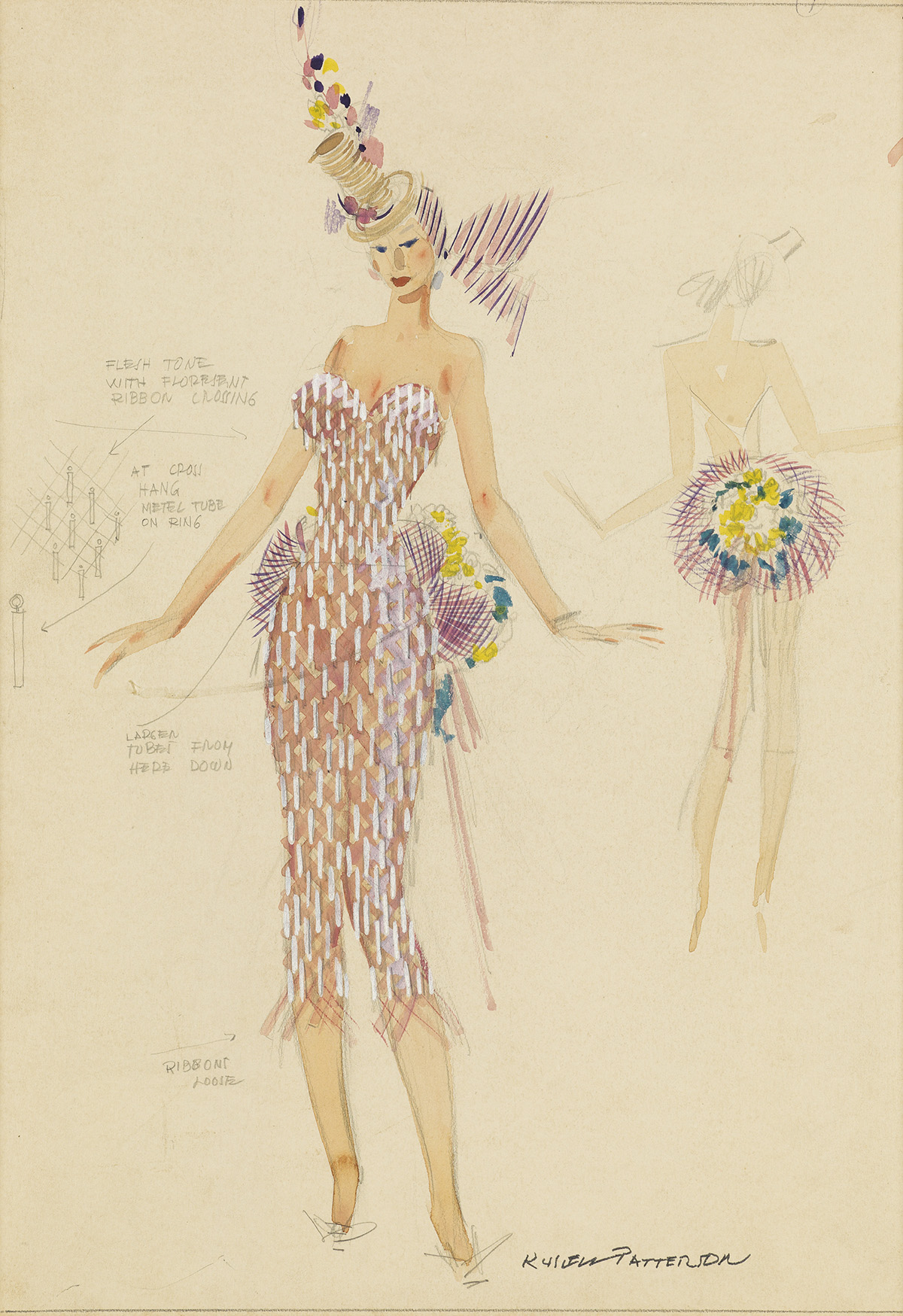 RUSSELL-PATTERSON-(THEATER--COSTUME)-Ribbons-Bows-and-Bouque