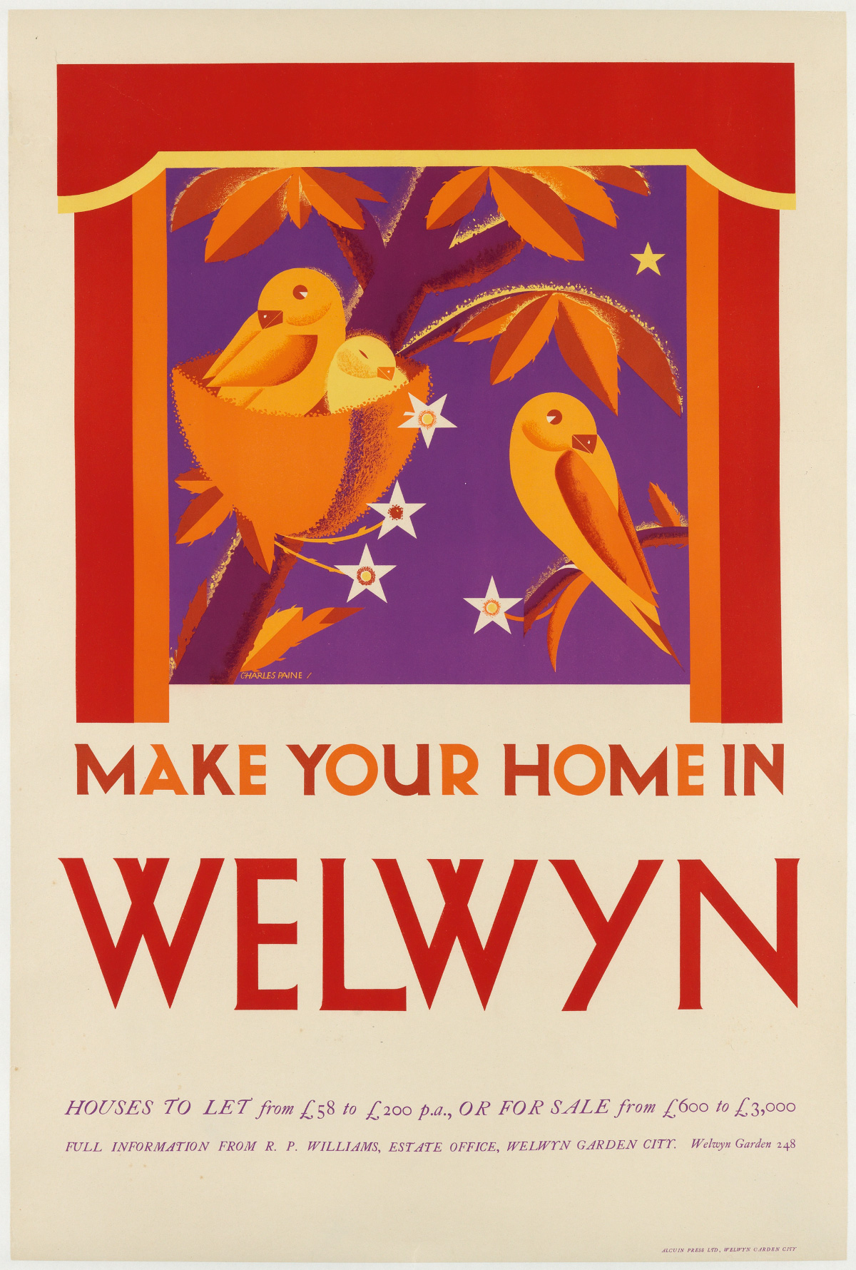CHARLES PAINE (1895-1967). MAKE YOUR HOME IN WELWYN. Circa 1939. 29x19 inches, 75x50 cm. Alcuin Press Ltd., Welwyn Garden City.