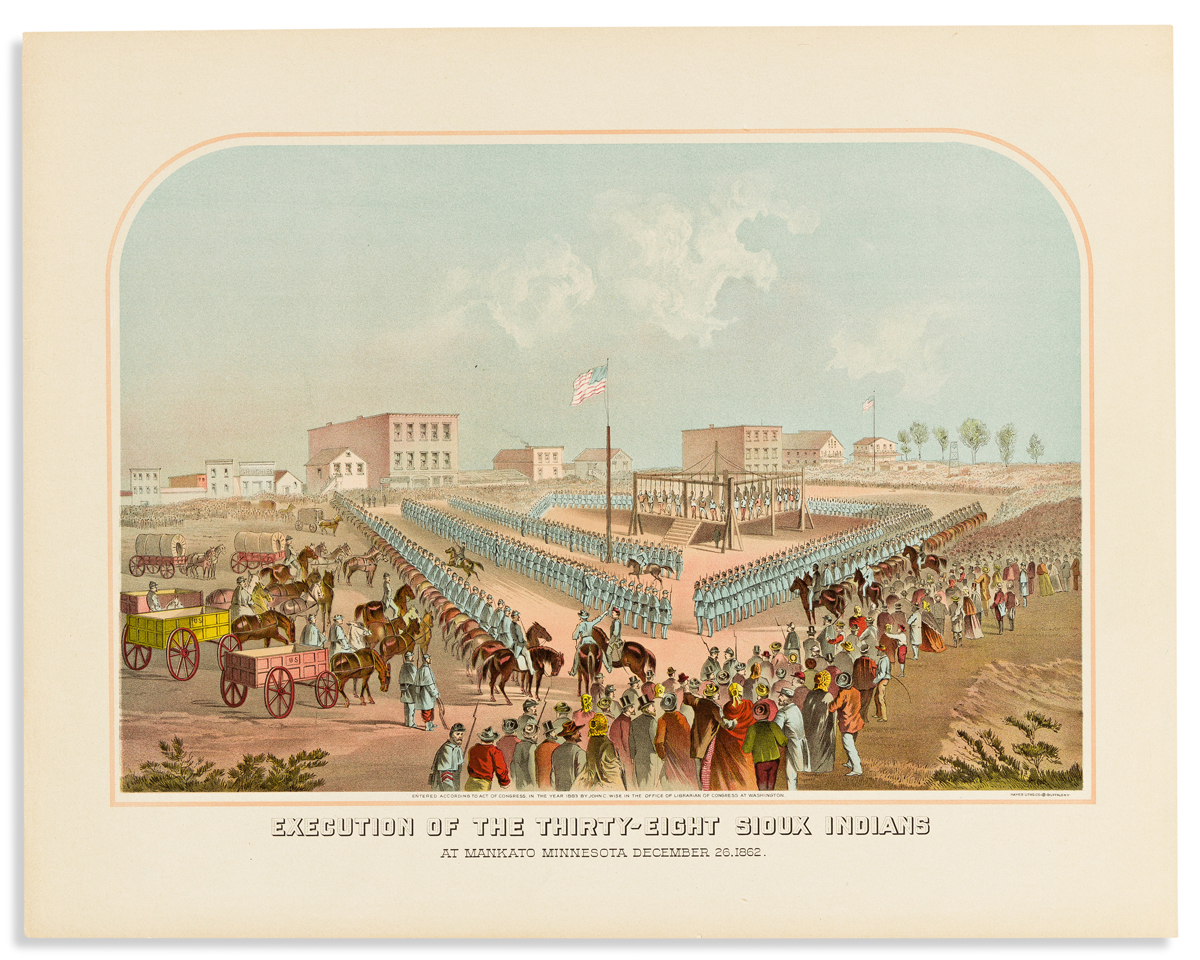 (AMERICAN INDIANS.) Hayes Litho Co. Execution of the Thirty-Eight Sioux Indians at Mankato Minnesota December 26, 1862.