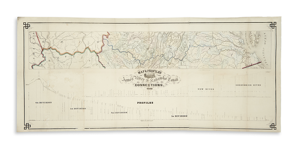 (VIRGINIA.) Lorraine, E. Map & Profiles of the James River & Kanawha Canal and its Connections.