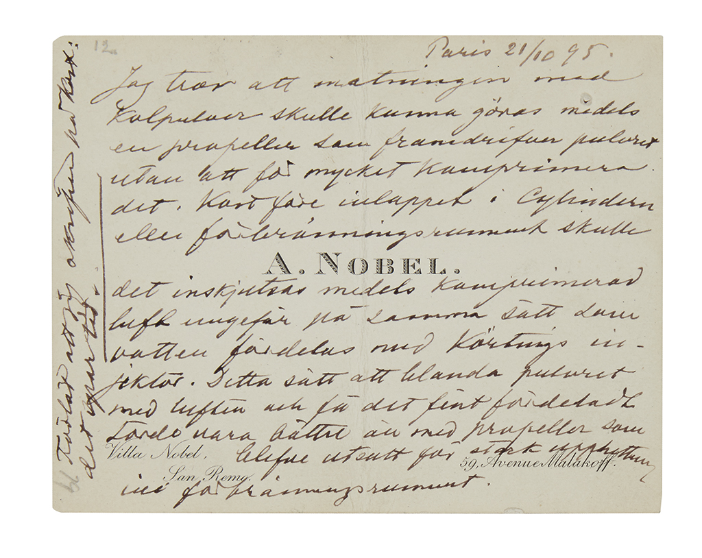 (SCIENTISTS.) NOBEL, ALFRED. Autograph Note, unsigned, in Swedish, on his printed visiting card,