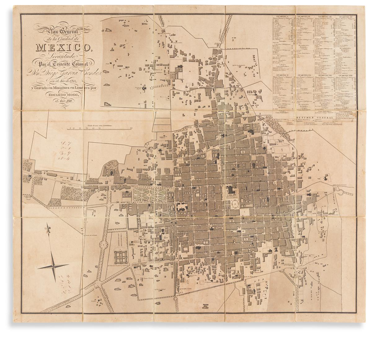 (MEXICO CITY.) Edward Mogg; after Diego García Conde. Plan General de la Ciudad de México,