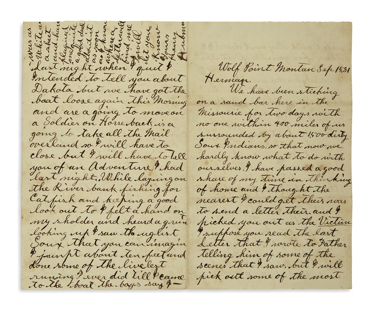 (WEST.) Correspondence of Henry Hubman, Iowa medical student / Montana Indian fighter / deserter in Canada.